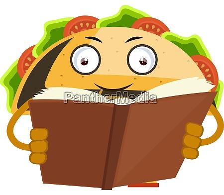 taco libro di lettura illustrazione vettore