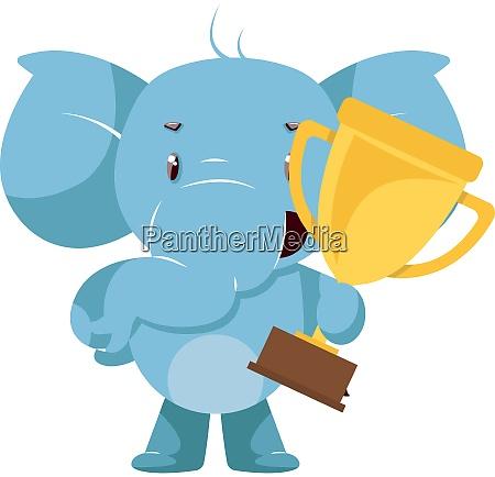 elefante con trofeo illustrazione vettore su