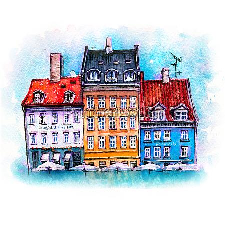 watercolor sketch of nyhavn copenhagen denmark