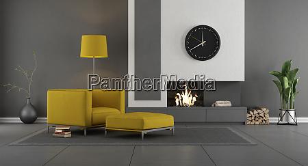 soggiorno moderno grigio e giallo con