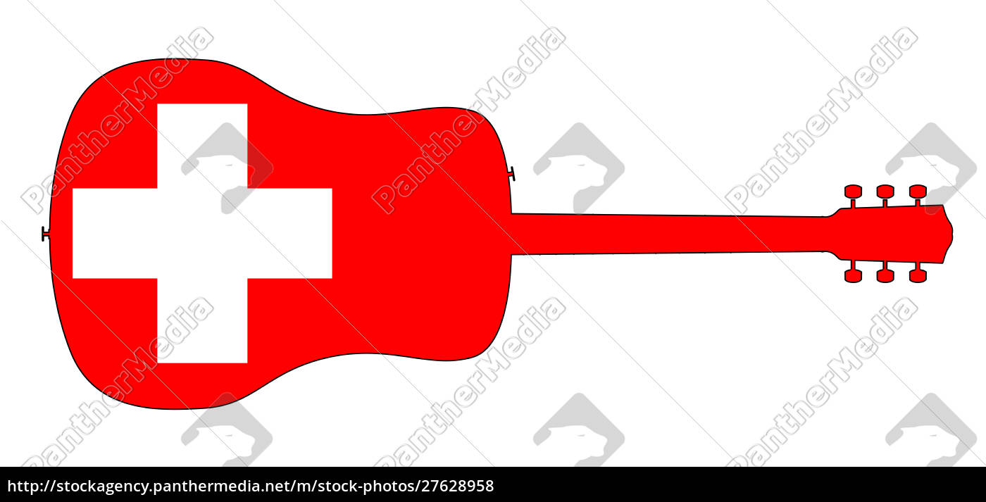 acoustic, guitar, silhouette, with, swiss, national - 27628958