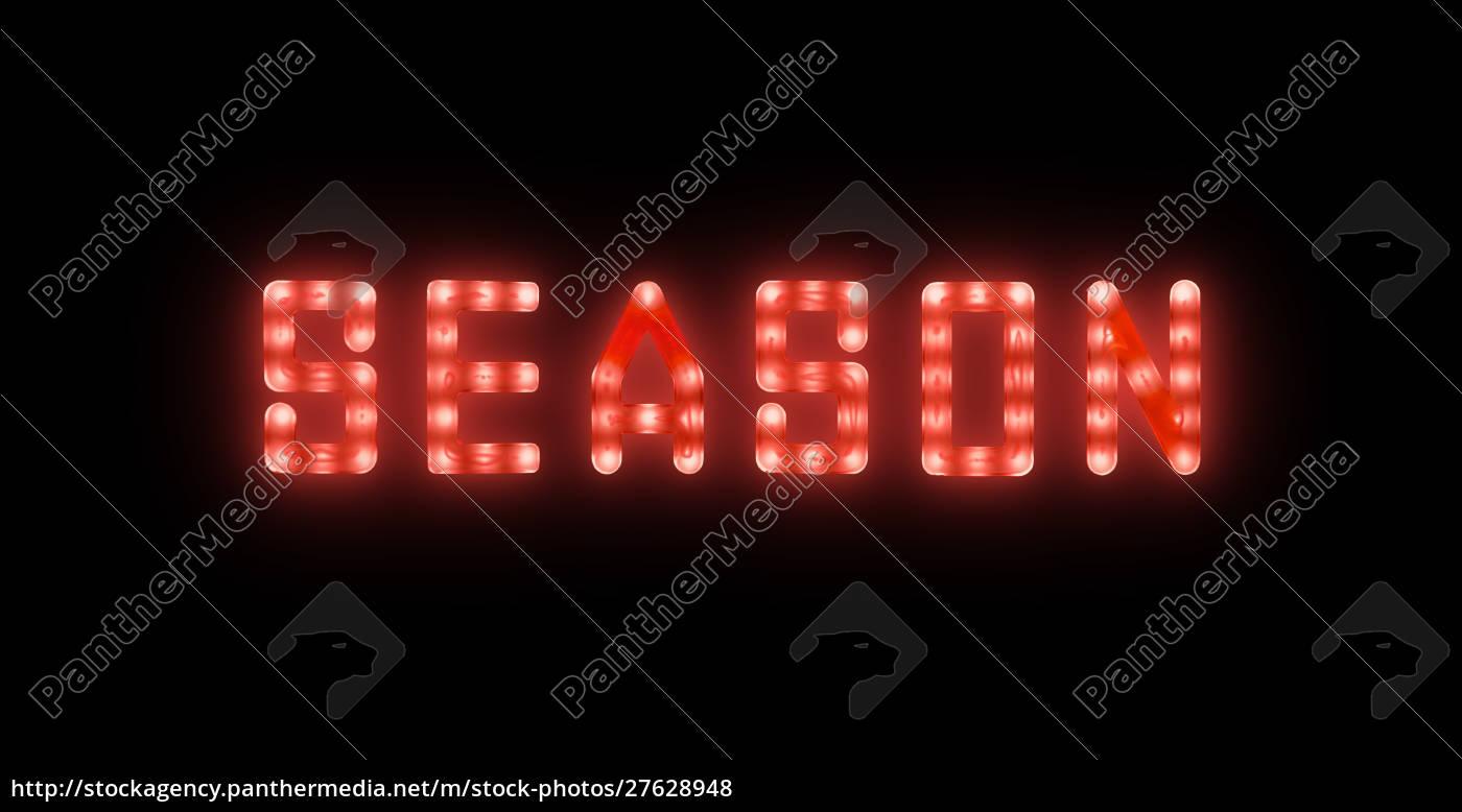 rosso, neon, incandescente, led, segno, season - 27628948
