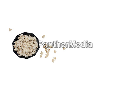 fresh popcorn in bowl top view
