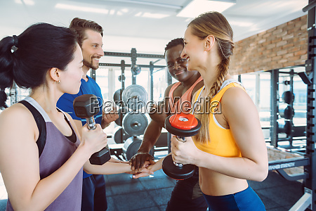 four diversity friends during fitness training