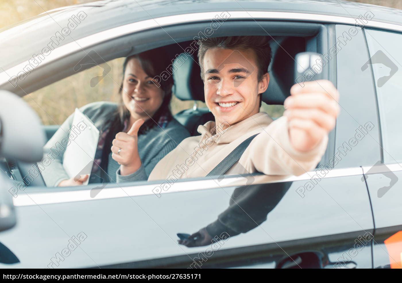 happy, student, of, driving, school, showing - 27635171