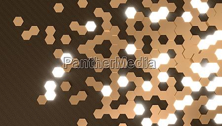3d rendering image of hexagon shape