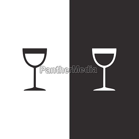 wine glass icon on black and