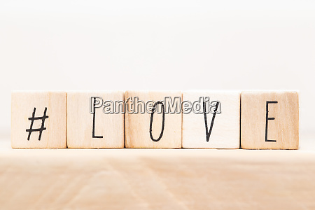 word love on wooden cubes with