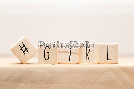 wooden cubes with a hashtag and