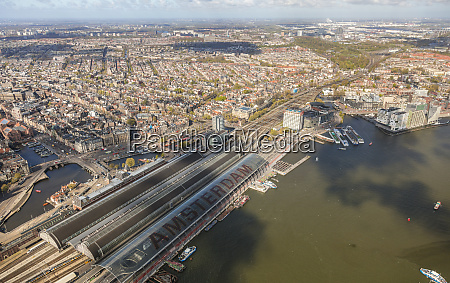 aerial view of amsterdam with amsterdam