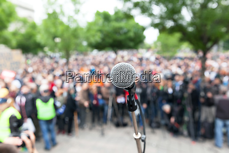 political protest demonstration microphone in focus
