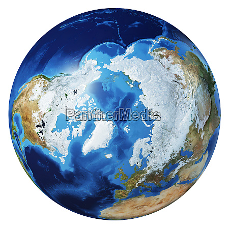 earth globe 3d illustration arctic view