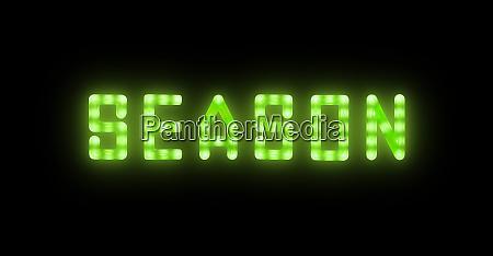 green neon glowing led season sign