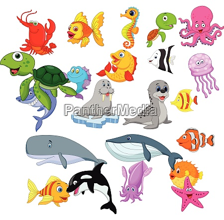 set di collezione cartoon sea life