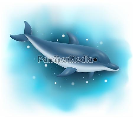 delfino dei cartoni animati che nuota