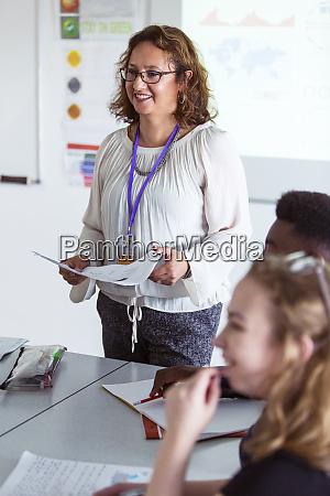 smiling, female, high, school, teacher, leading - 28126829
