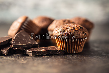 muffin, al, cioccolato, gustosi., dolce, tortini. - 28135276