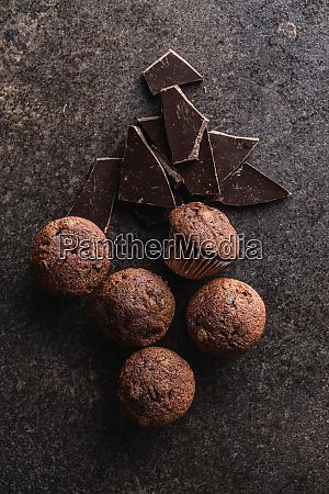 muffin, al, cioccolato, gustosi., dolce, tortini. - 28135277