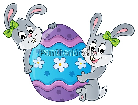 easter egg and rabbits theme image