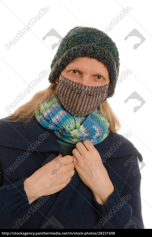 donna, con, protezione, della, bocca, e - 28231698