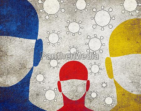 tre persone con maschera chirurgica
