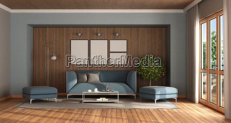 soggiorno moderno con elegante divano blu