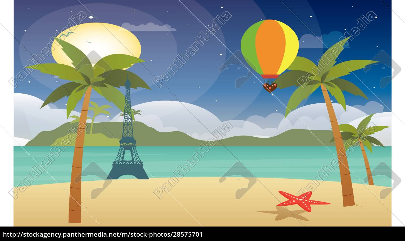 hot, air, balloon, flying, above, beach - 28575701