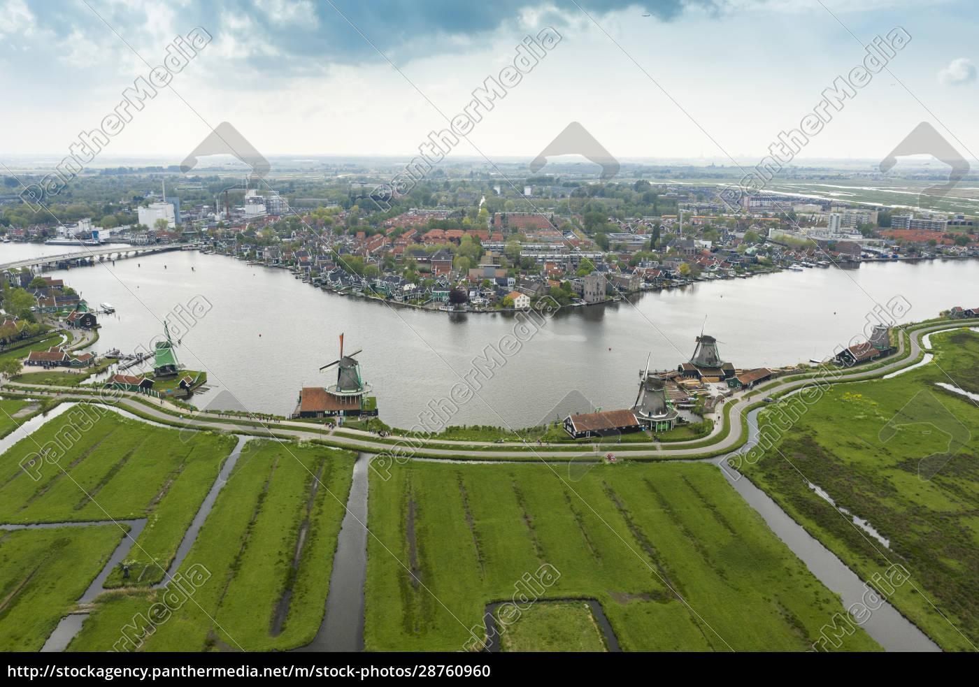 paesi, bassi, olanda, del, nord, zaandam, veduta, aerea, dei - 28760960