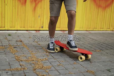 gambe di ragazzo skateboarding sul sentiero