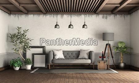 soggiorno in stile retro con elegante