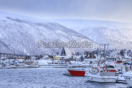 tromso piccolo porto barca fiordo ponte