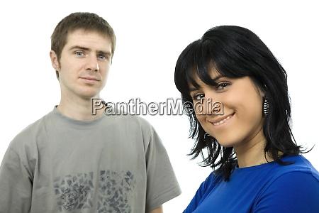 giovane coppia casuale insieme isolato su