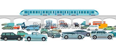 treno espresso e auto allincrocio