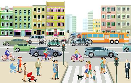 citta con traffico stradale condomini e