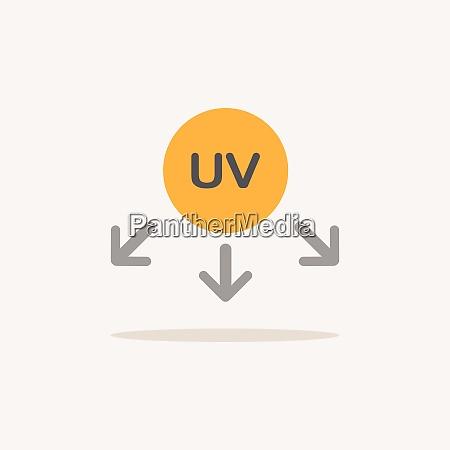 simbolo dei raggi ultravioletti icona colore