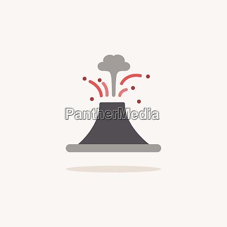 vulcano icona del colore con ombra