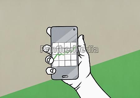 pov mano che tiene lo smartphone