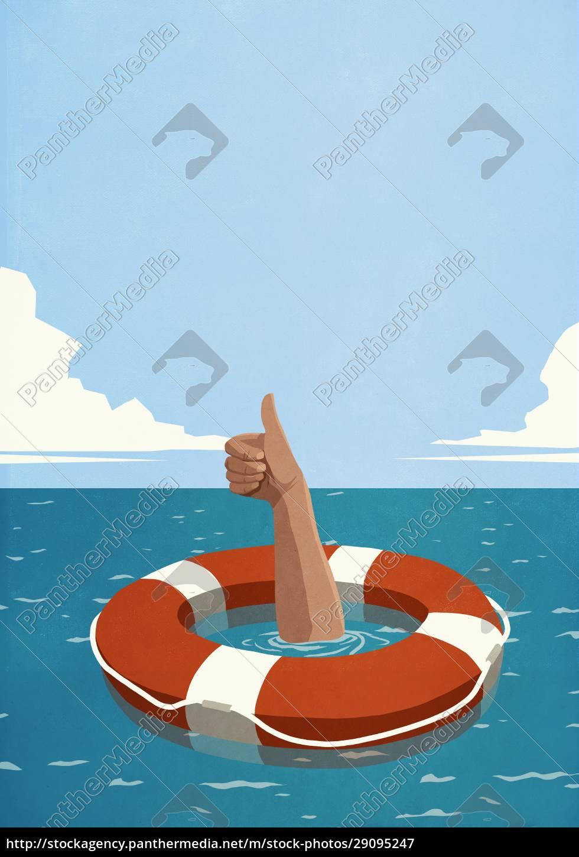 uomo, che, affonda, sotto, l'anello, della - 29095247