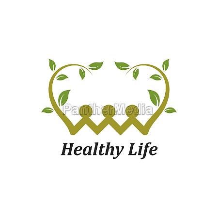 healthy life people vettore modello logo
