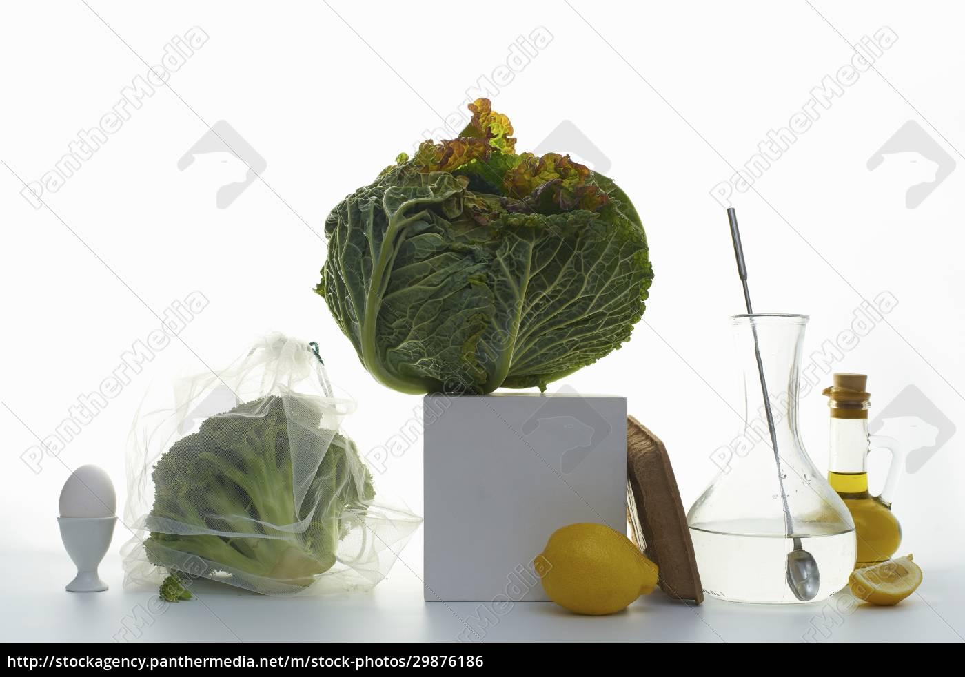 natura, morta, con, verza, broccoli, e, limoni - 29876186