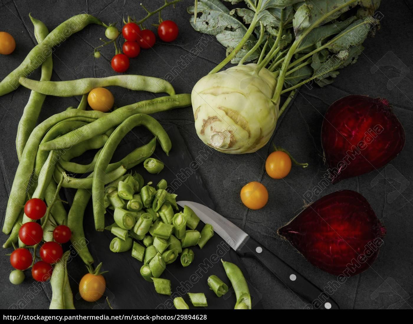 natura, morta, vegetale, con, fagioli, pomodori, kohlrabi, e - 29894628